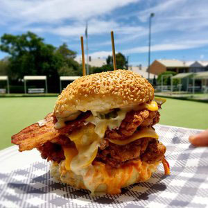 Burgers at Lowlands Bowling Club